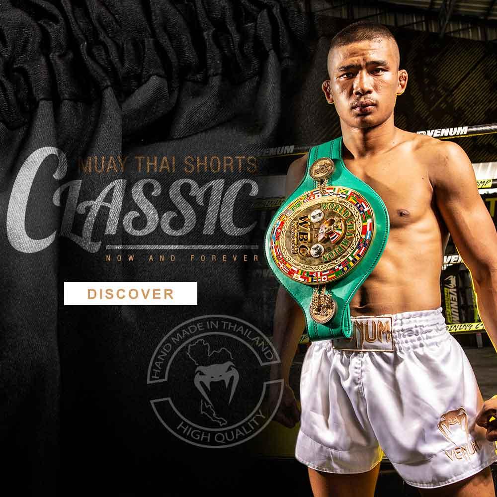Venum Muay Thai Shorts Classic Black White K1 Kickboxing Striking Thai Boxing